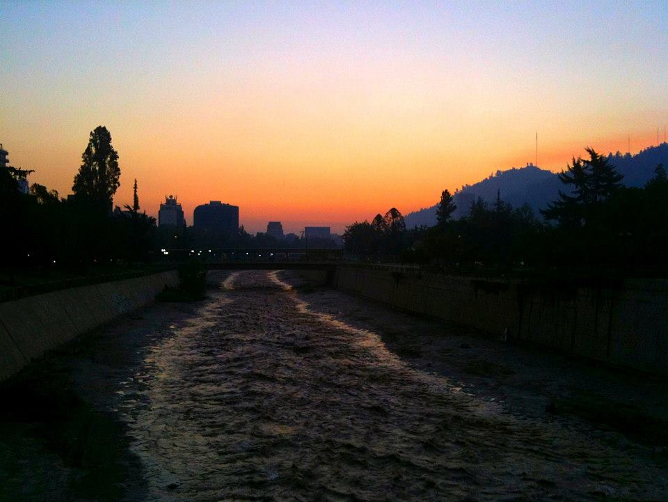 Mapocho River at sunset